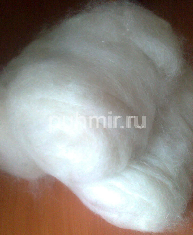 Пух в мотках белый чёсанный стиранный готовый к прядению