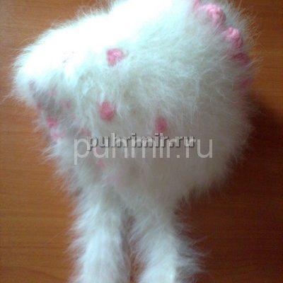 Шапка из пуха кролика чепчик с цветочной отделкой