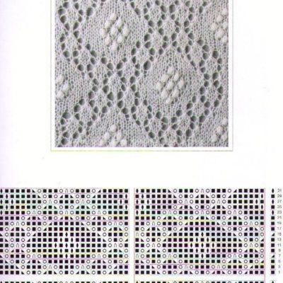 Ажурный узор для шали вязание спицами