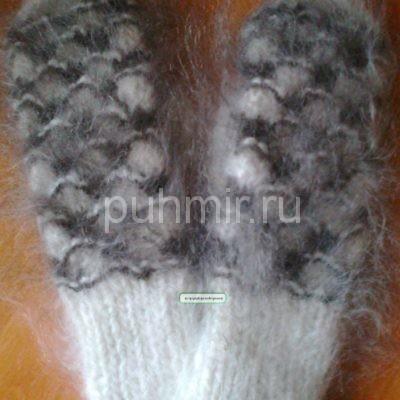 Варежки пуховые с орнаментами