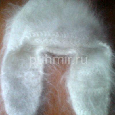 Шапка ушанка пуховая белая (крючок)