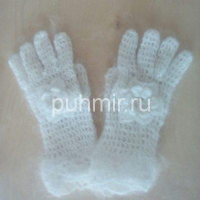 Пуховые перчатки ажурные ( крючок)