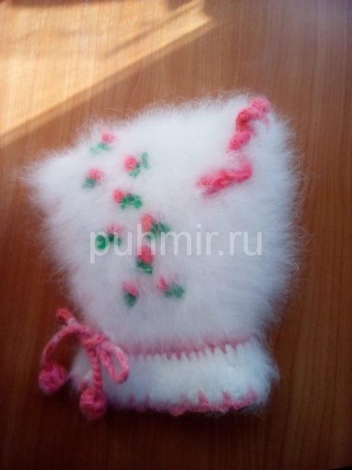 Комплект шапка, рукавички, пинетки из кроличьего пуха