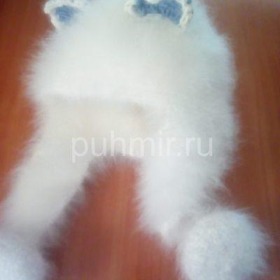 Шапка из пуха кролика ушанка белая с орнаментом