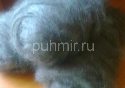 Пух в мотках чёсанный стиранный готовый к прядению серый