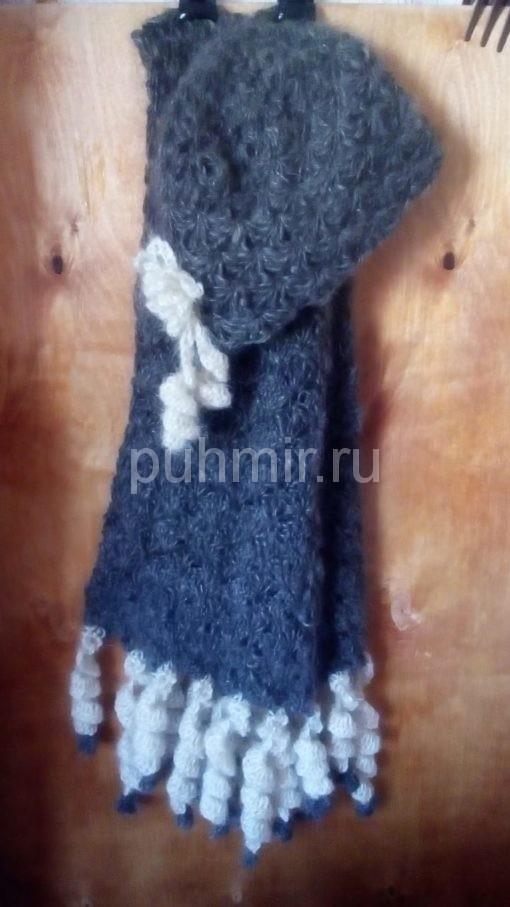Комплект шапка +шарф пуховые ажурные