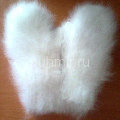 Варежки из пуха кролика белые женские