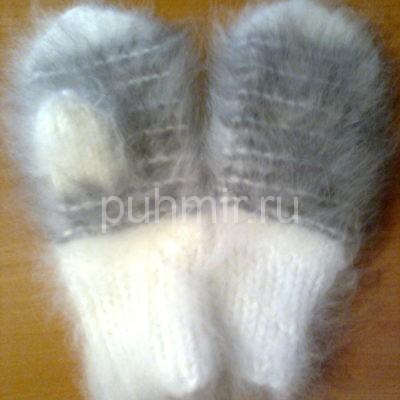 Варежки из пуха кролика №5