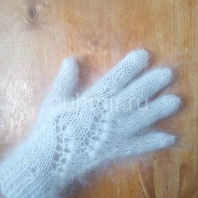 Пуховые перчатки ажурные белые рис.№1