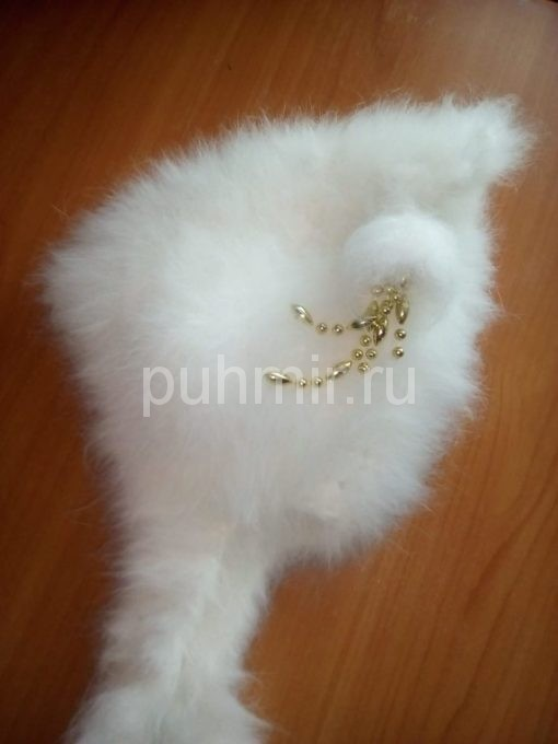 Шапка из кроличьего пуха буратинка белая