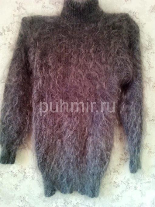 Свитер пуховый серый с высоким воротником