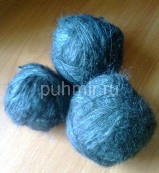 Пряжа из пуха козы черного цвета для вязания ажурных вещей